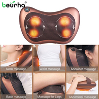 110/220V Massage Head Neck Massager Car Home Shiatsu Neck Relaxation Waist Body Electric Massage Deep Kneading Pillow Cushion