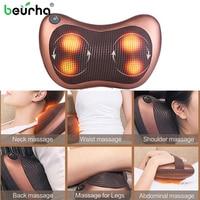 110/220V Massage Head Neck Massager Car Home Shiatsu Neck Relaxation Waist Body Electric Massage Deep Kneading Pillow Cushion
