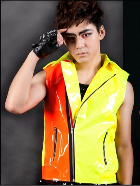 2018 Fashion menu0027s clothing personalized neon color block motorcycle vest  sc 1 st  AliExpress.com : vest costumes  - Germanpascual.Com
