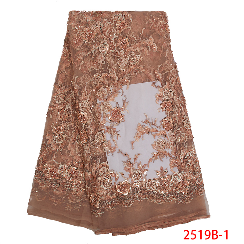 African Lace Fabric 2019 French Laces Fabrics High Quality Nigerian Embroidered Tulle Lace Fabric With Beads Sequins KS2519B-1