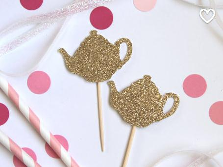 glittery teapot cupcake toppers perfect for tea party themed bridal shower birthday baby shower food picks in cake decorating supplies from home garden