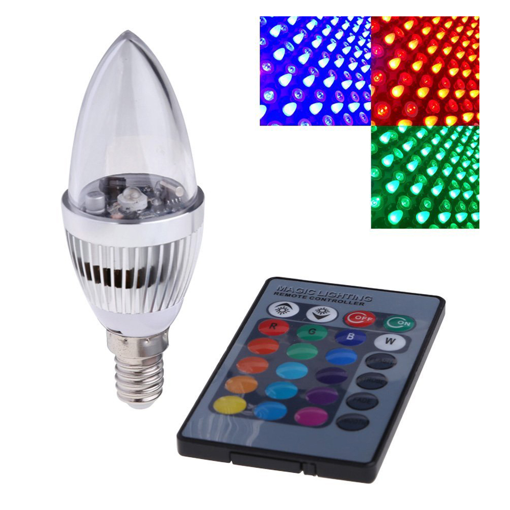 3 W RVB À Distance Contrôlée, 16 Changement de Couleur LED Ampoule Ampoule Bougie Lampe AC 85-265 V (E 14)