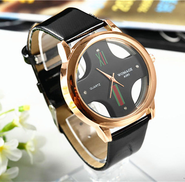 Fashion Style Hollow Out Cross Dial Quartz Watch Women Men Casual Leather strap