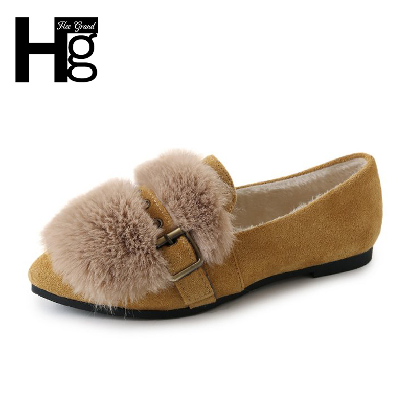 HEE GRAND Suede Winter Warm Women Flats Soft Platform Plush Fur Flat with Pointed Toe Slip on Flock Faux Fur Shoes Woman XWM232 pu pointed toe flats with eyelet strap