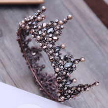 Vintage Baroque Tiara Geometric Beads Tiaras Crowns Hairband Royal Queen Headband for Women Christmas Party Hair Jewelry