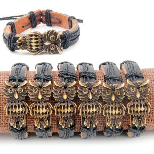 Jewelry Wholesale Lot 12pcs Handmade yak bone Carved Tribal Owl Black Leather Bracelet Bangle Gift MB70(China)