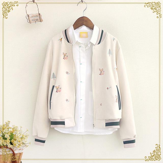 Japonés de impresión zorro de la manera mujeres de la capa de nueva otoño invierno de manga larga con capucha chaqueta de la capa uniforme de béisbol capa de la chaqueta Corta