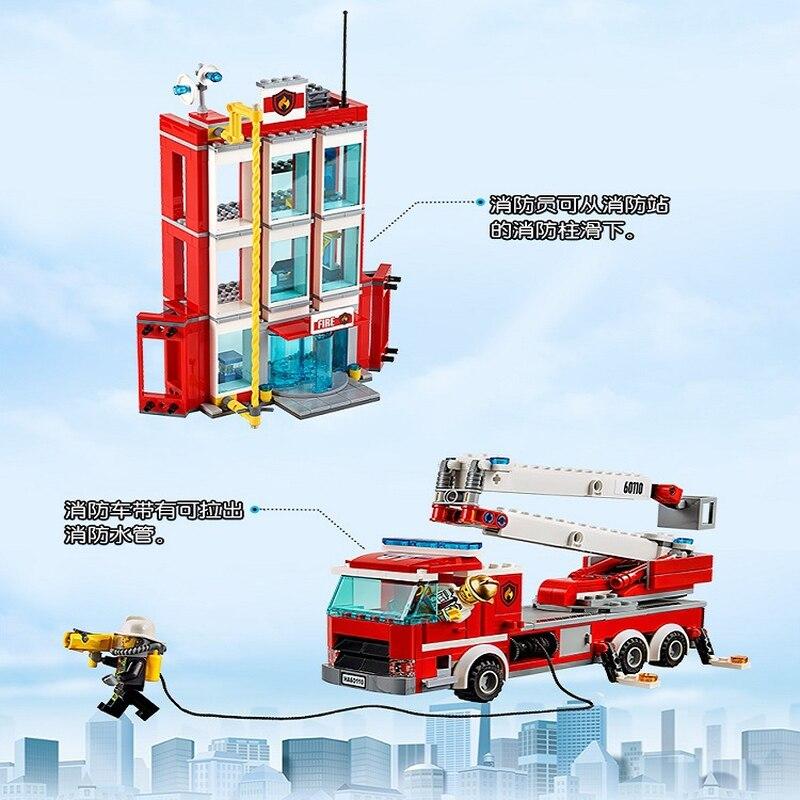Legoings 60110 958 pièces Ville Série La Caserne des pompiers Modèle Building Block jouet de construction Pour Enfants cadeau d'anniversaire 10831 - 6