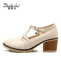 Daidiesha Nude Pumps High Heels Ladies T Strap Shoes Candy Color Block Heels Brogue Shoes Big