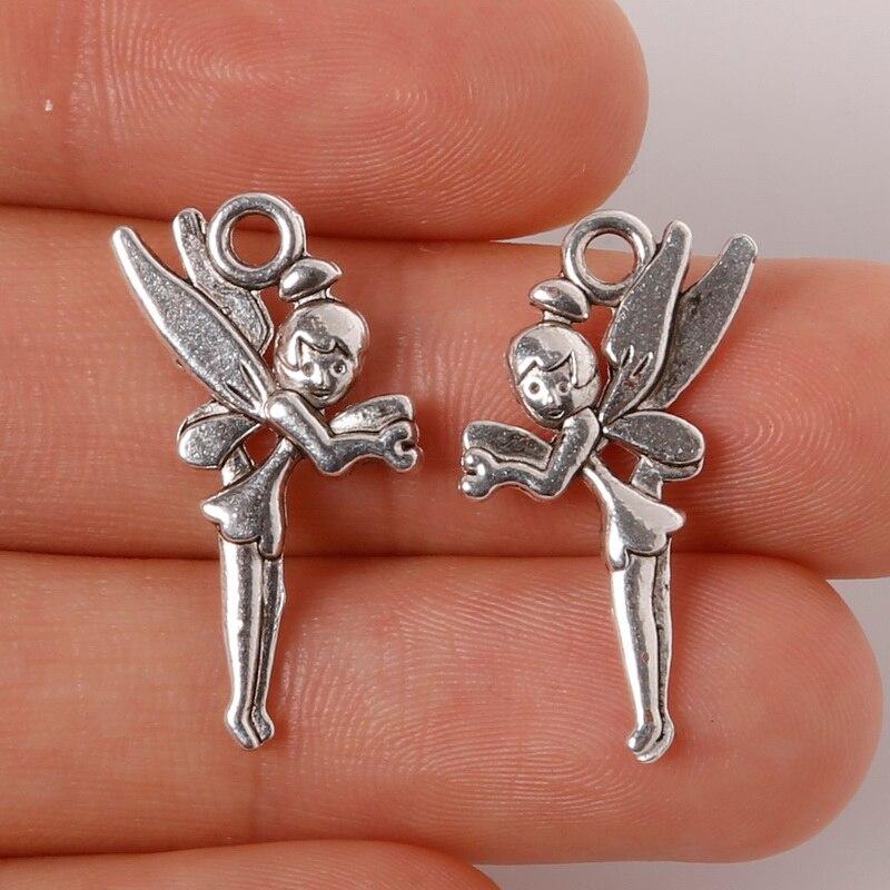 10 Stücke 11x25mm Zink-legierung Antique Silver Angel Diy-charme-anhänger