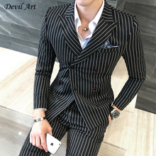 UPS DHL Free Shipping Men's Stripe Blazer Suits Double Breasted Custom Men's Suits Tailor Suit Blazer Suits For Men High Quality