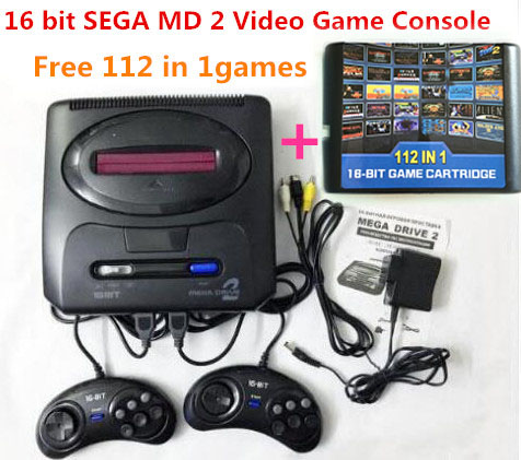 For 16 bit For SEGA MD2 Video Game Console with US and Japan Mode Switch,Free 112 in 1 game cartridge for everdrive sega цена