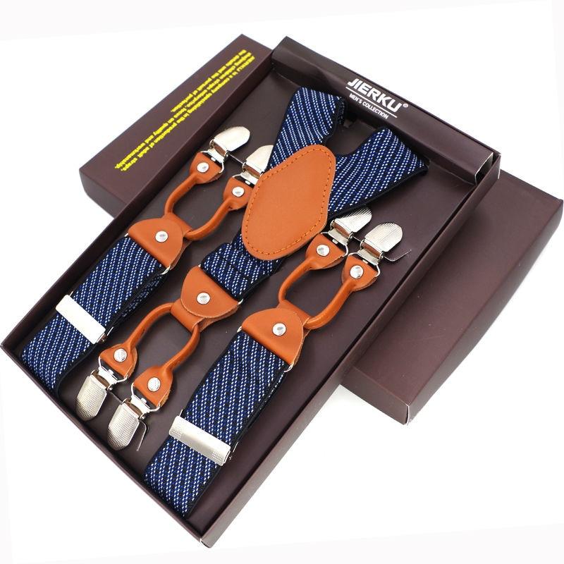 Fashion Men's Suspenders 6 Clips leather Braces Trousers Suspensorio Pants Strap Adjustable elastic ligas Tirantes Belt Strap