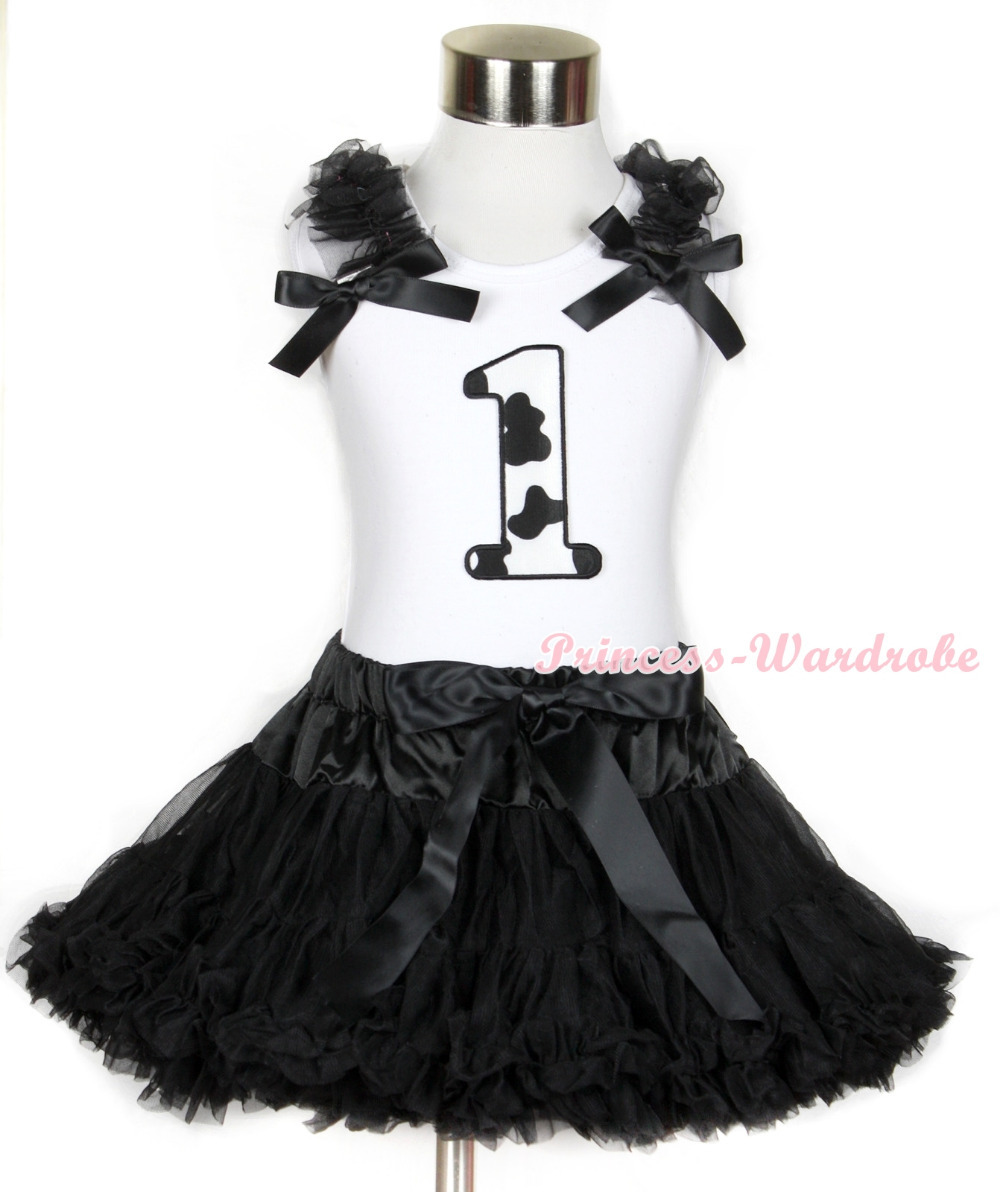 Halloween White Tank Top with 1st Milk Cow Birthday Number Print with Black Ruffles & Black Bow & Black Pettiskirt MAMG681 white tank top with 5th birthday number minnie with minnie dots ruffles