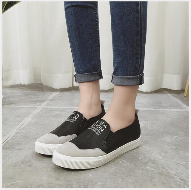 Весна Осень хан издание парусиновые туфли кожаные женские плоские кожаные сандалии с ленивый леди плоские студенты досуг обувь одного