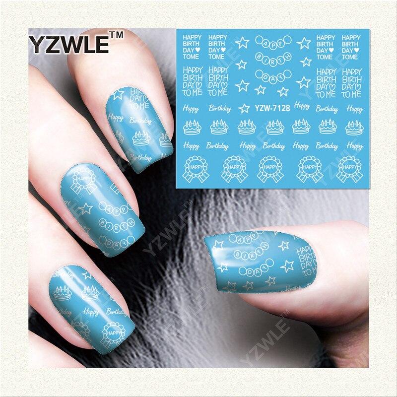 YZWLE 1 Листов DIY Наклейки Ногтей Вода Трансферная Печать Наклейки Аксессуары Для Маникюра Салона YZW-7128