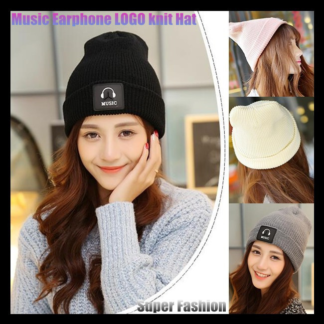 Men&Women Beanie Top Quality Hip-hop Slouch Unisex Woolen Knitted Cap Winter Snap Slouch Bonnet Hat,with Music Earphone LOGO