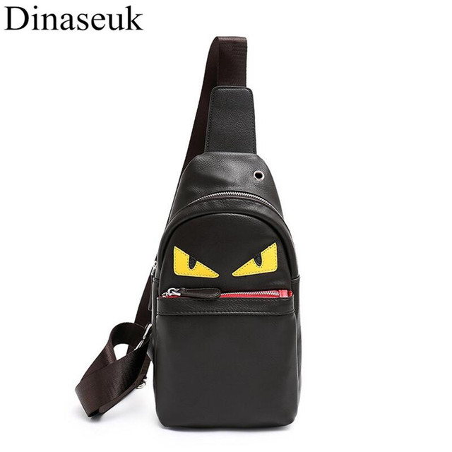 Fashion Men Chest Bag PU Leather Casual Sling Crossbody Bag Multipurpose  Travel Phone Black Anime Cartoon c60d33340736a