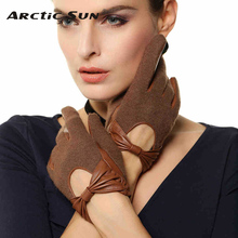 free shipping lady sheepskin gloves fashion wirst Genuine leather women winter warm driving