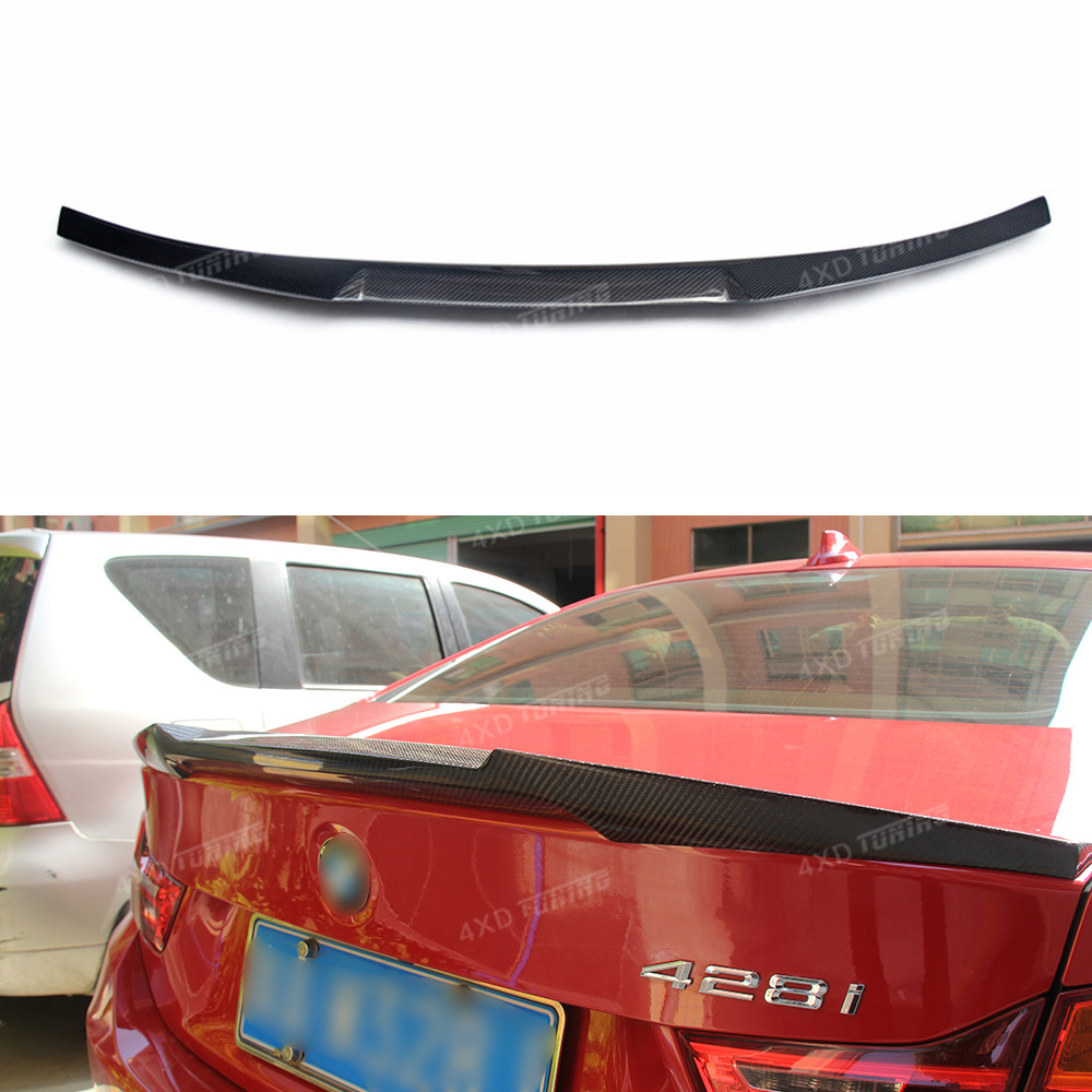 For BMW F32 Carbon spoiler New M4 Style Coupe 420I 428I 435I 4 Series F32 Carbon Fiber Rear Spoiler Rear Bumper Trunk Wing 2014+ f32 f33 f36 carbon fiber rear bumper lip diffuser spoiler for bmw f32 f33 f36 420i 428i 435i 420d 428d 435d m tech m sport