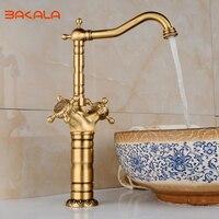 BAKALA New Arrival Tall Faucet Vintage Style Bathroom Basin Sink Faucet Antique Brass Mixer Tap Dual Handles Deck Mounted CA9903