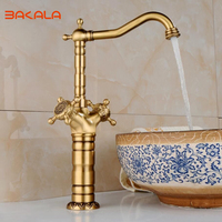BAKALA New Arrival Tall Faucet Vintage Style Bathroom Basin Sink Faucet Antique Brass Mixer Tap Dual