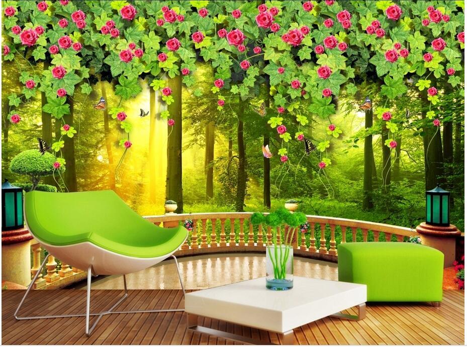 Custom 3d Photo Wallpaper 3d Wall Murals Wallpaper Hd: Custom Photo 3d Wallpaper Non Woven Mural Green Tree Vines