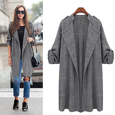 2016 Fashion Women Long Coat Trench Windbreaker Outwear Cardigan Long sleeve new Trenchs ...