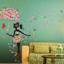 [SHIJUEHEZI] Fairy Girl Wall Stickers Vinyl DIY Flower Elf Nice Umbrella Mural Art for Kids Room Shop Glass Decoration