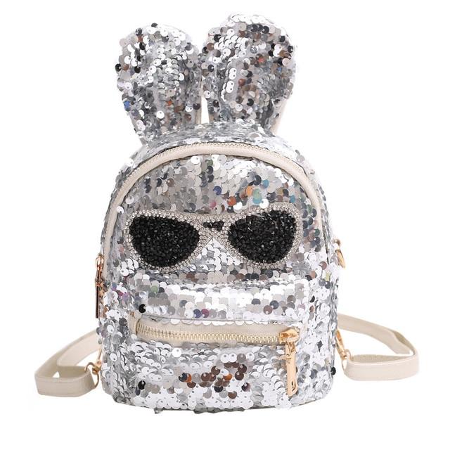 e2ca05f8f797 school bags for teenage girls Backpack Female Sequins Bling Schoolbag  Backpack Sunglasses Ladies Travel Mochila Feminina  12