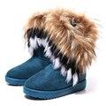Moda Otoño Invierno Cuñas Nieve de Las Mujeres Patea Los Zapatos de piel de Zorro Caliente GenuineI Mitation Señora Short Botas Casuales Zapatos de Nieve de Largo