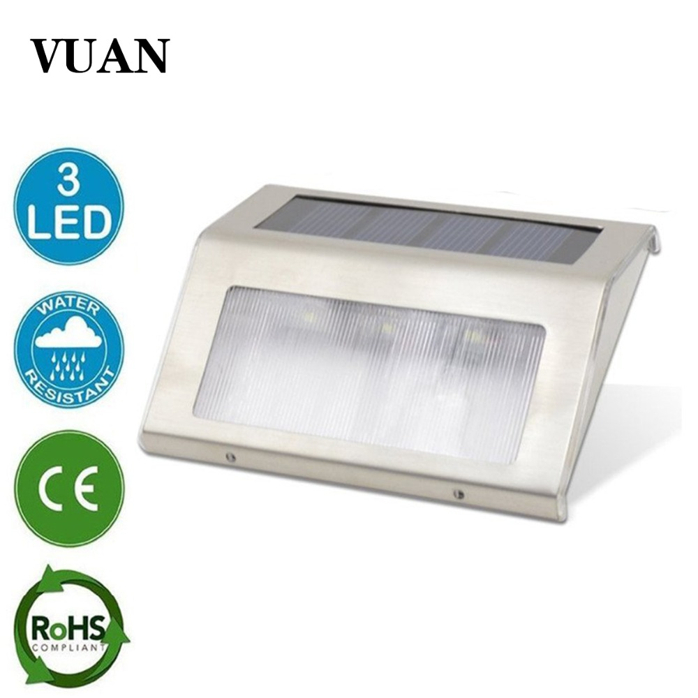 3LED Stainless Steel Solar garden Light Lamps for Outdoor Illuminates Stairs Paths Deck Patio LED Solar Power Street Light paths to power