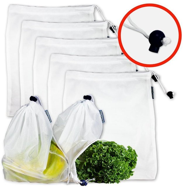 5pcs Reusable Firm Mesh Bags Washable Eco Friendly Supermarket
