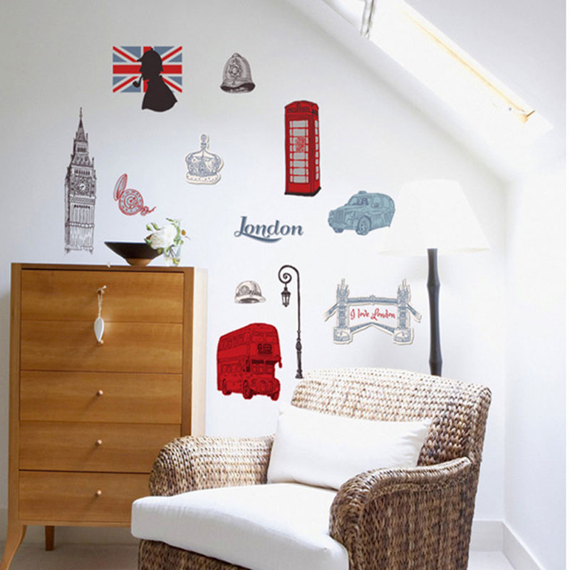 Wall stickers london paris paris wallpaper for kids for Home decorations london