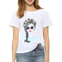 Showtly  2019 New Fashion Womens Portrait Tee Tops Summer T Shirt Casual Cotton O Neck Short Sleeve