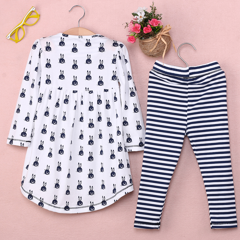 New-Girls-Clothes-Fashion-Cute-Kids-Cartoon-Rabbit-Print-Pocket-Dress-and-Striped-Leggings-2pcs-Children-Set-2