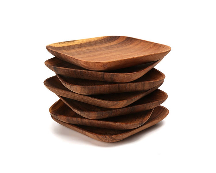 Set of 2 Square Wooden Plates High Quality Acacia Wood Dishes Serving Trays Premium Hardwood Dishes Plates Dinnerware (3)