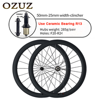 OZUZ 38mm 50mm deep Ceramic Bearing Powerway R13 Hubs 25mm wide 3k 700c V brake carbon clincher wheelset bicycle road bike wheel
