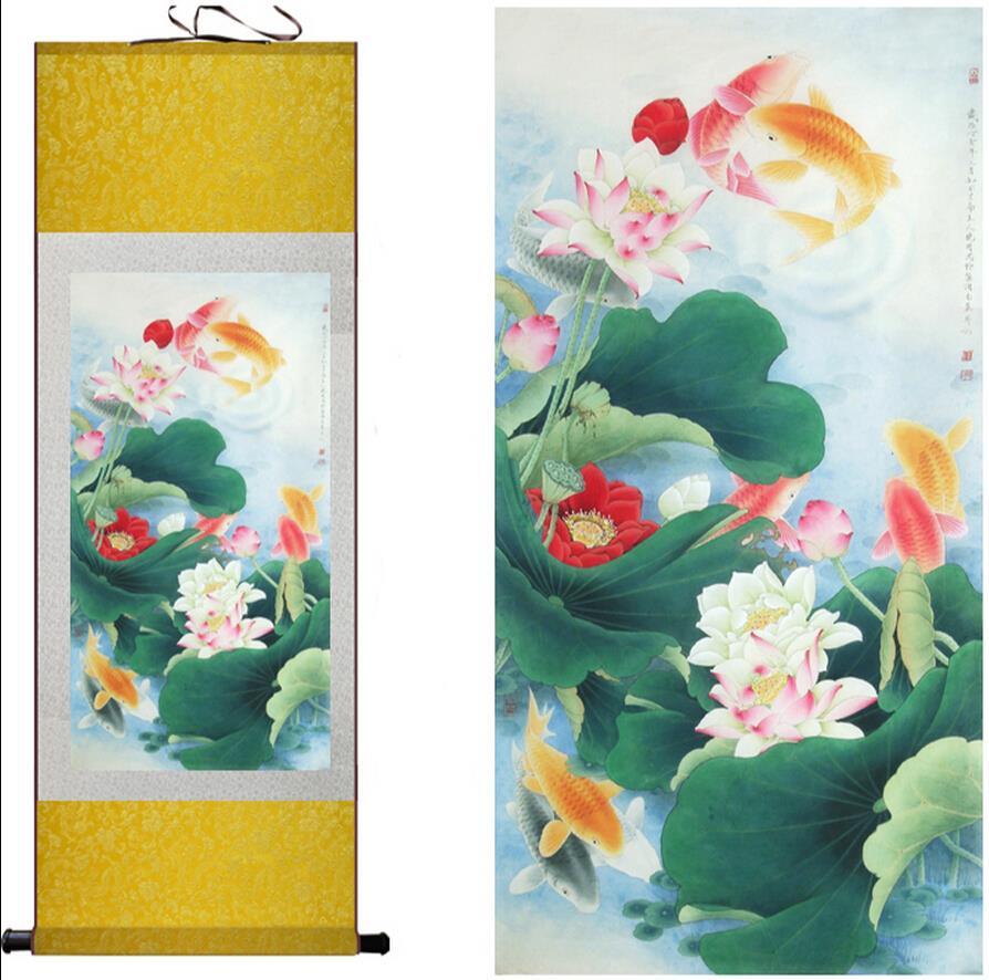Tradicionalna umjetnička slika svile Ribe se igraju u vodi Kineska - Kućni dekor - Foto 2