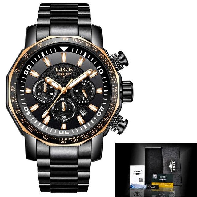 Men Watch Big Dial Military LIGE Chronograph Top Brand Fashion Man Waterproof Sport Wristwatch Relogio Masculino relojes hombre   Fotoflaco.net