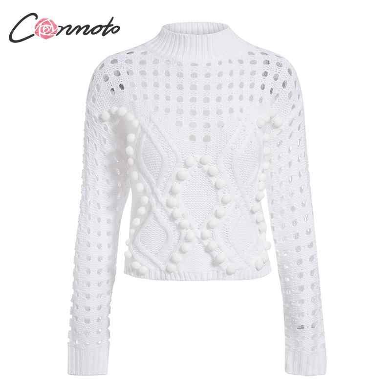 Conmoto 中空セーター女性 2019 秋冬カジュアル薄いショートニットトップス女性シックなジャンパープルファム