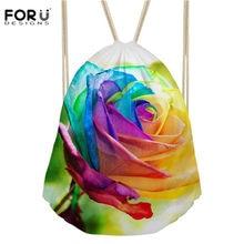 10114c7d6a FORUDESIGNS 3D Women Drawstring Bag Pretty Flower Rose Sport Bag for Girl  Fitness Gym Drawstring Storage Backpack Bolsa Feminina