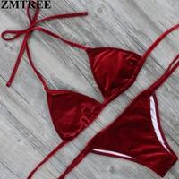 ZMTREE Brand 2017 Women Bikini Set Special Material Stretch Velvet Brazilian Biquini Praia Swimwear Sexy Swimsuit