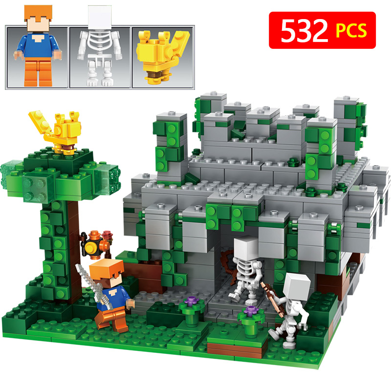 Figures Compatible With LegoINGLYs Minecrafted Building Blocks The Jungle Temple Model My World bricks Children Brthday Gift 2 sets jurassic world tyrannosaurus building blocks jurrassic dinosaur figures bricks compatible legoinglys zoo toy for kids