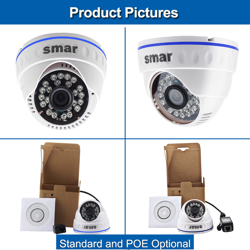 Smar H.264 Dome IP Camera 720P 960P 1080P CCTV Camera Indoor 24 hours Video Surveillance Onvif POE 48V Optional Best Price (3)