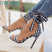Scottish Plaid High Sandals Women Cross Tied Heels Ladies Ankle Strap Lace Up Party Bow High Shoes MAZIAO