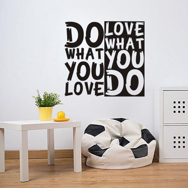 doen wat je liefde citaat muursticker diy decoratieve inspirational muurtattoo woonkamer slaapkamer quotes motto spreuken poster