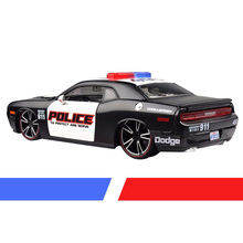 Popular Mustang US 1/24 Scale Alloy Diecast Dodge Challenger Police Car Model Toys Viper Muscle With   Light & Sound Toys
