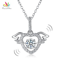 Peacock Star Heart Angel Wing Dancing Stone Pendant Necklace Solid 925 Sterling Silver Good for Wedding Bridesmaid Gift CFN8081