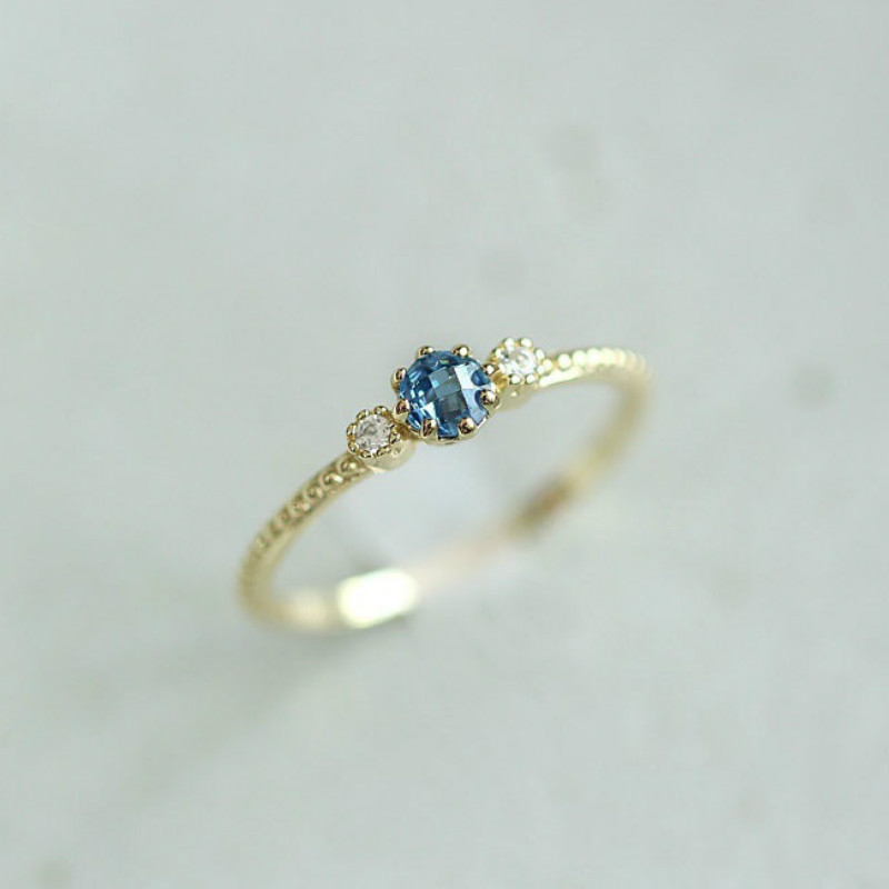 Women And Natural Sea Blue Sample Rings Engagement Wedding